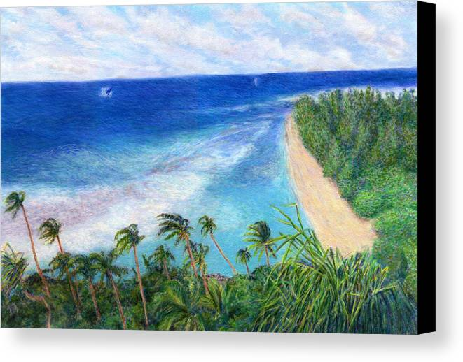 Rainbow Colors Pastel Canvas Print featuring the painting Windblown by Kenneth Grzesik