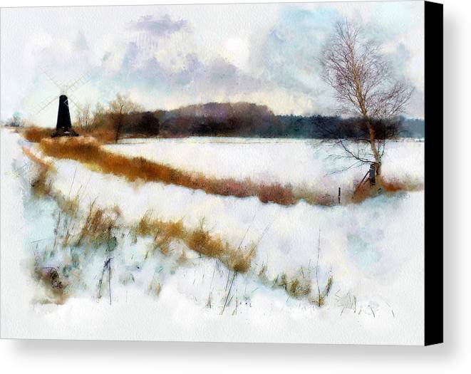 Landscape Canvas Print featuring the painting Windmill In The Snow by Valerie Anne Kelly
