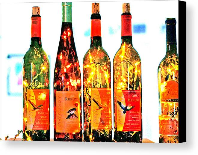 Wine Bottle Lights Canvas Print featuring the photograph Wine Bottle Lights by Margaret Hood