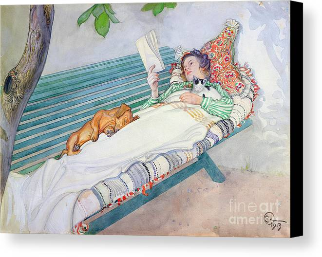 Woman Canvas Print featuring the painting Woman Lying On A Bench by Carl Larsson