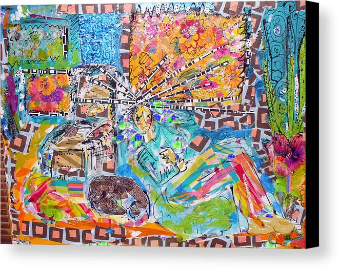 Abstract Canvas Print featuring the mixed media Woman With Dog by Joyce Goldin