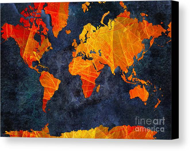 Abstract Canvas Print featuring the digital art World Map - Elegance Of The Sun - Fractal - Abstract - Digital Art 2 by Andee Design