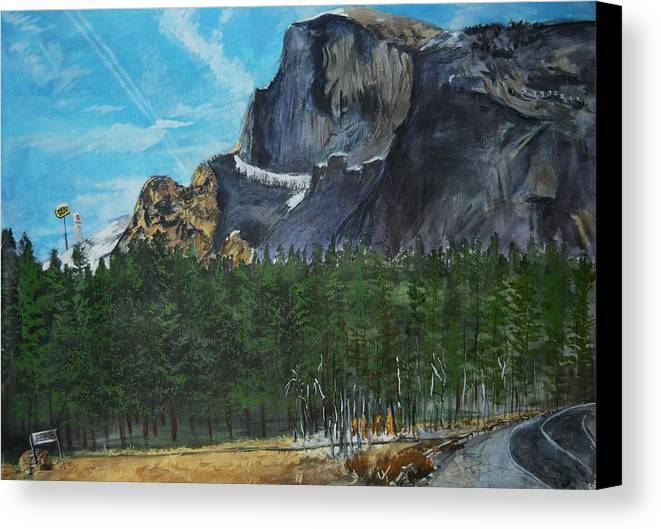 Half Dome Canvas Print featuring the painting Yosemite Political Statement by Travis Day