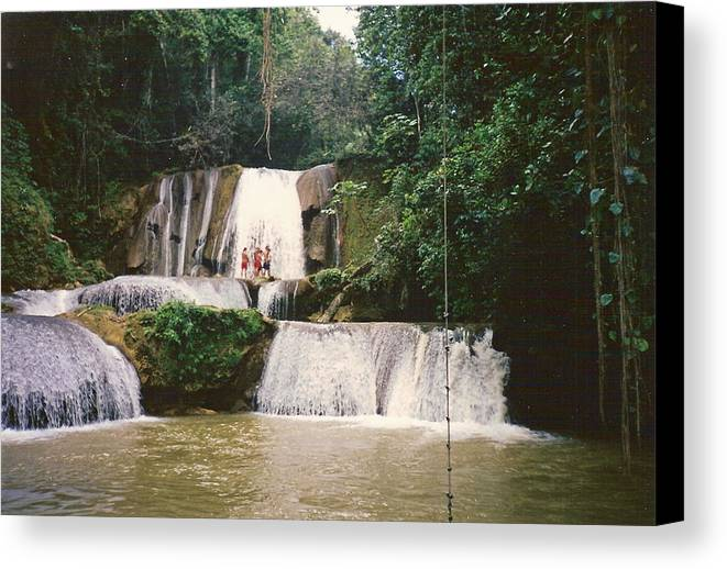 Jamaica Canvas Print featuring the photograph Ys Falls Jamaica by Debbie Levene