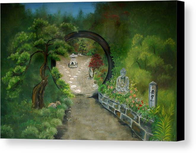 Zen Canvas Print featuring the painting Zen Garden by Sundara Fawn