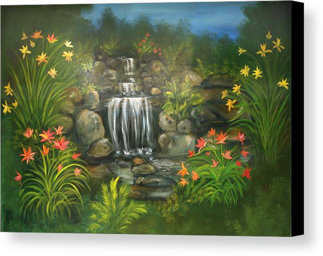 Waterfall Canvas Print featuring the painting Zen Waterfall by Sundara Fawn