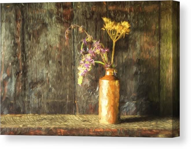 Flowers Canvas Print featuring the photograph Monet Style Digital Painting Retro Style Still Life Of Dried Flowers In Vase Against Worn Woo by Matthew Gibson