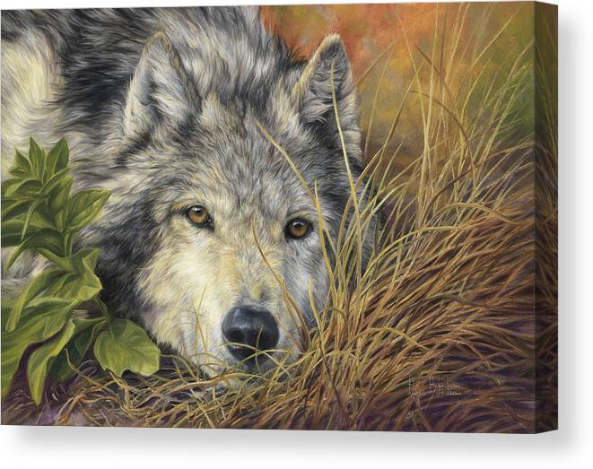 Wolf Canvas Print featuring the painting Pure Soul by Lucie Bilodeau