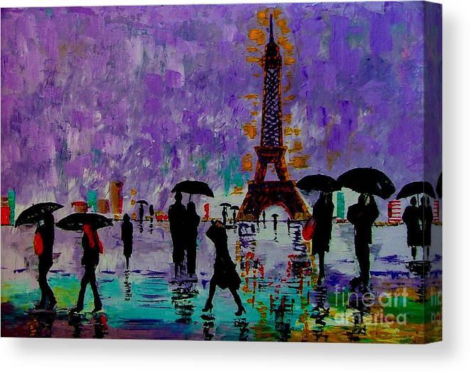 Rain Canvas Print featuring the painting Rain In Paris by Inna Montano