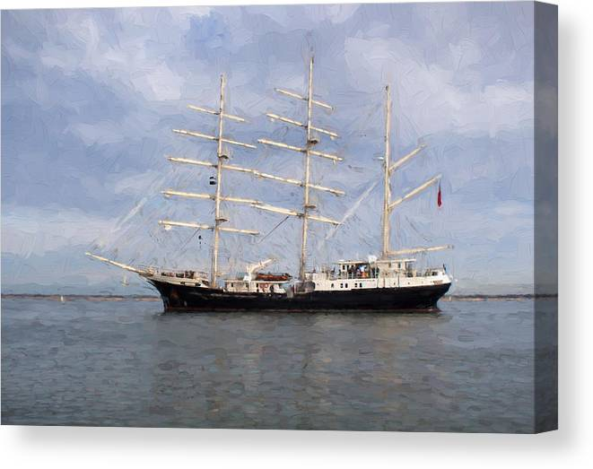 Sea Canvas Print featuring the photograph Tall Ship At Anchor by Colin Porteous