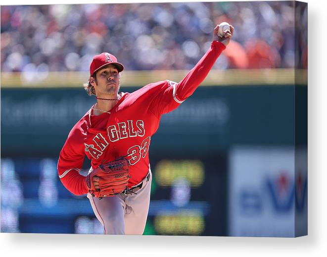 American League Baseball Canvas Print featuring the photograph Los Angeles Angels Of Anaheim V Detroit by Leon Halip