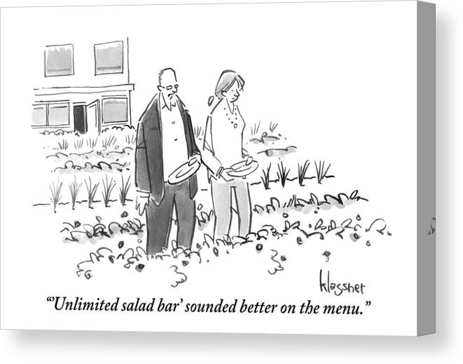 Salad Bar Canvas Print featuring the drawing A Man And Woman Are Seen Walking Through A Garden by John Klossner