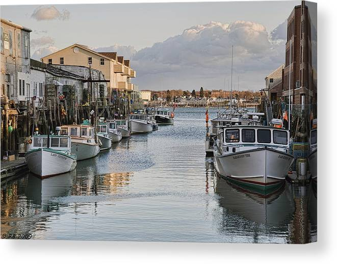 Architecture Canvas Print featuring the photograph Along The Docks by Richard Bean