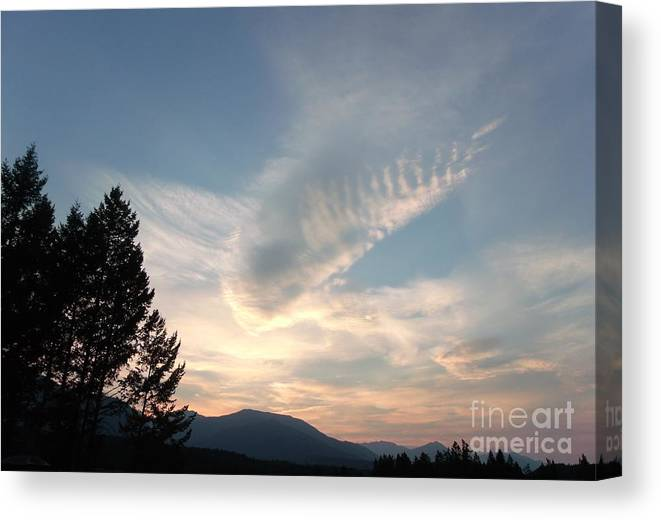 Angels Canvas Print featuring the photograph Angel Wings In Sky Clouds by Gail Matthews
