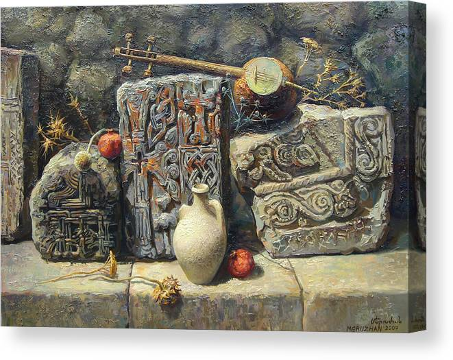 The Armenian Stones Canvas Print featuring the painting Armenian Stones by Meruzhan Khachatryan