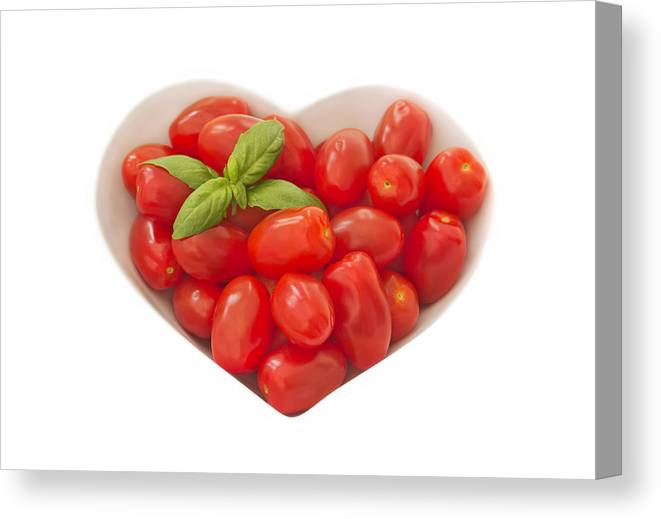 Tomatoes Canvas Print featuring the photograph Baby Plum Tomates In A Heart Shaped Bowl by Dawn Gilfillan