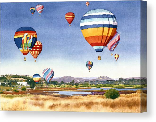 Encinitas Canvas Print featuring the painting Balloons Over San Elijo Lagoon Encinitas by Mary Helmreich
