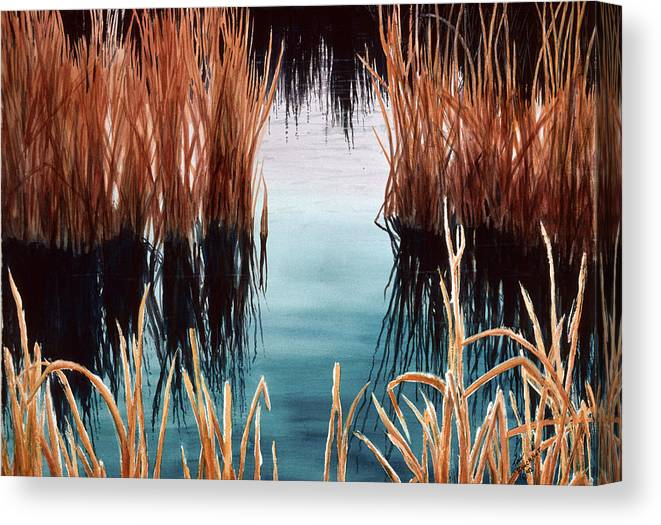 Landscape Canvas Print featuring the painting Bay At Sunset by Tina Buechner
