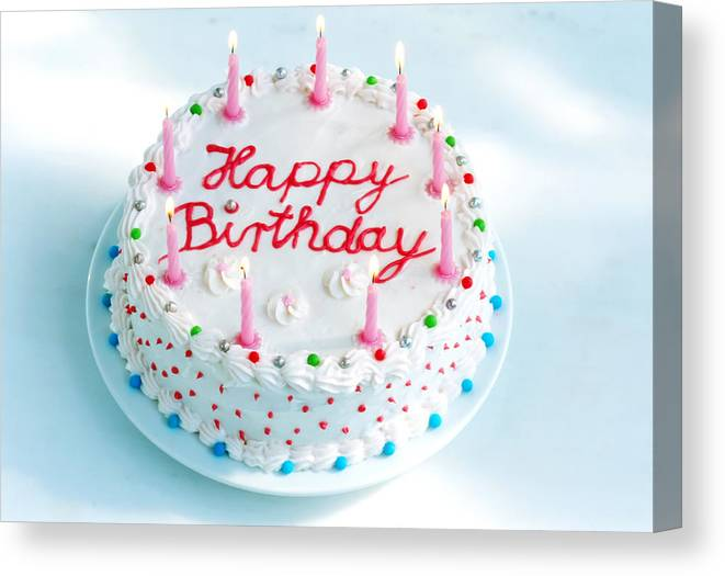 Birthday Cake With Candles Lit Canvas Print / Canvas Art by ...