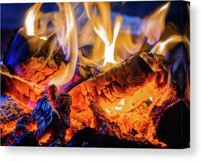 Photography Canvas Print featuring the photograph Campfire, Lapland Sweden by Panoramic Images