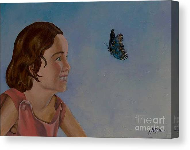 Butterfly Canvas Print featuring the painting Chasing Butterflies by Laura Leikona