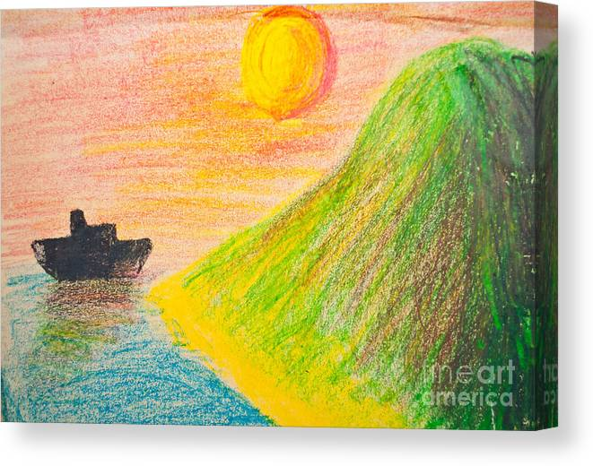Art Canvas Print featuring the photograph Child's Hand Drawing Of Sea And Mountain Landscape With Crayons by Aleksandar Mijatovic