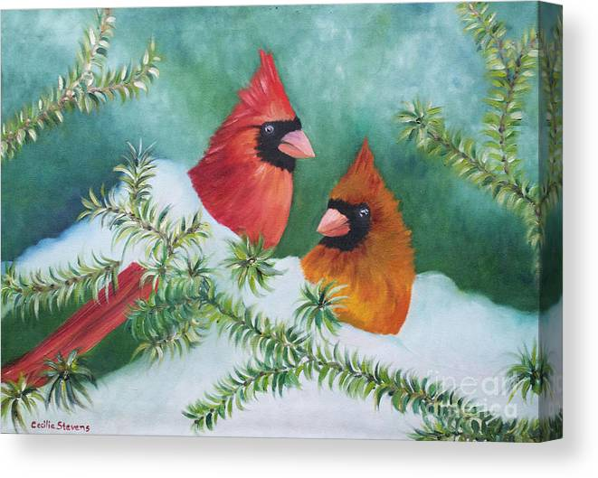 Cardinals Canvas Print featuring the painting Colorful Companions by Cecilia Stevens