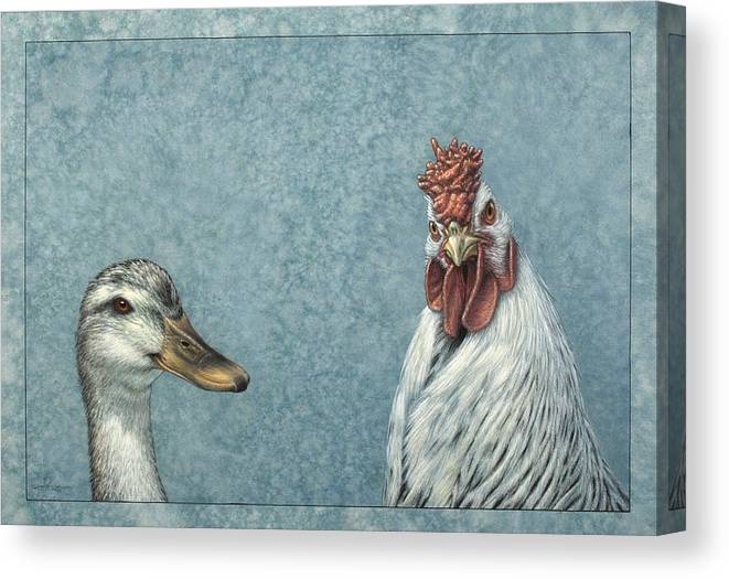 Duck Canvas Print featuring the painting Duck Chicken by James W Johnson