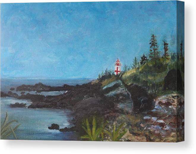 Canada Canvas Print featuring the painting East Quoddy Head Lighthouse by Donna Walsh