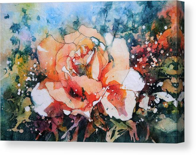 Peach Canvas Print featuring the painting Everythings Peachy . . . Peach Rose by Stephie Butler