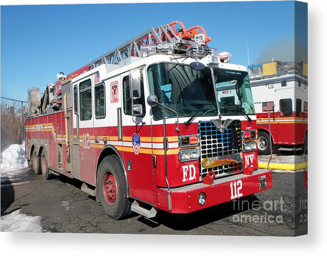 Fdny Canvas Print Featuring The P Ograph Fdny Ladder  Alarm Fire By Steven Spak