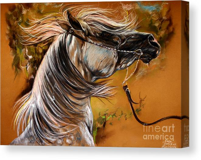 Horse Canvas Print featuring the drawing Hot Temper by Angel Ciesniarska
