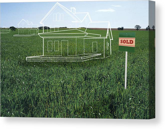 Grass Canvas Print featuring the drawing House Plans On Lawn By 'sold' Sign (digital Composite) by Rupert King