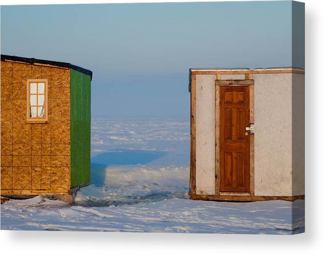 Ice Canvas Print featuring the photograph Ice Fishing Huts Canada Macro by Derek Grant
