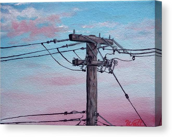 Power Lines Canvas Print featuring the painting Inner City Power by Tammy Watt