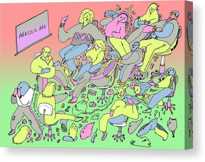 School Canvas Print featuring the digital art La Ensenianza by Lino Divas