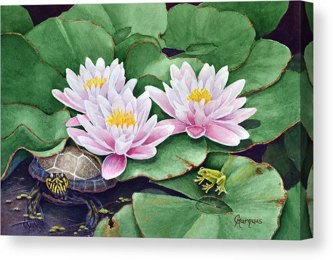 Wild Life Canvas Print featuring the painting Life Among The Lillie Pads by Colleen Marquis