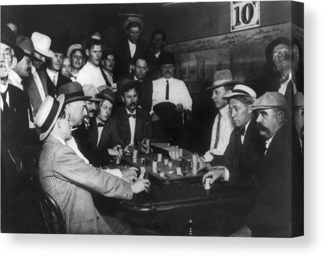 1910s Canvas Print featuring the photograph Nevada, Open Gambling In Reno, Game by Everett