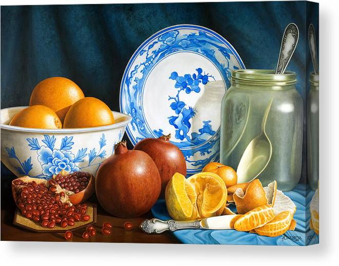 Still Life Canvas Print featuring the painting Oranges And Pomegranates by Horacio Cardozo