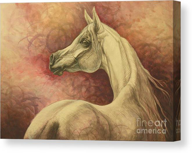 Horse Canvas Print featuring the painting Purple Emotion by Silvana Gabudean Dobre