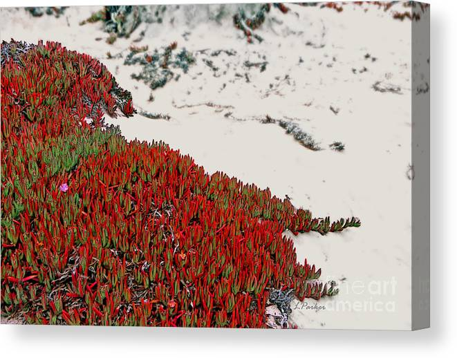 Red Canvas Print featuring the photograph Red Ice On Beach 2 by Linda Parker