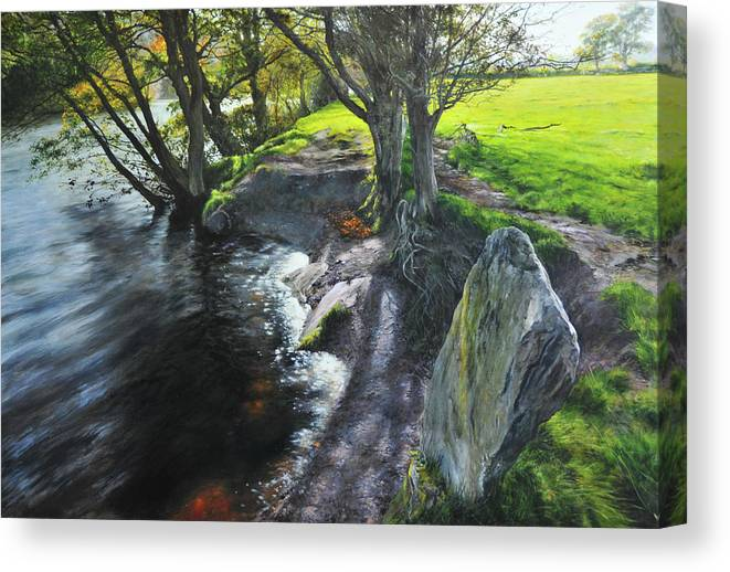 Landscape Canvas Print featuring the painting River Dee At Rhug by Harry Robertson