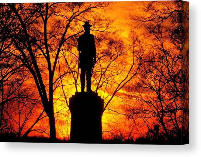 Civil War Canvas Print featuring the photograph Sky Fire - Flames Of Battle 50th Pennsylvania Volunteer Infantry-a1 Sunset Antietam by Michael Mazaika