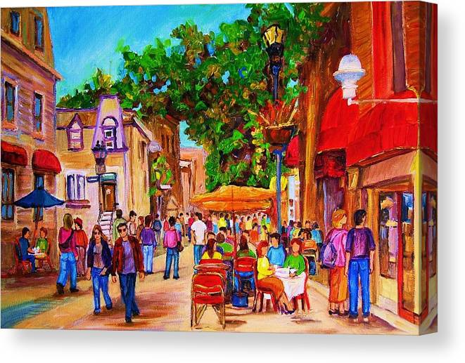 Summer Cafes Montreal Street Scenes Canvas Print featuring the painting Summer Cafes by Carole Spandau