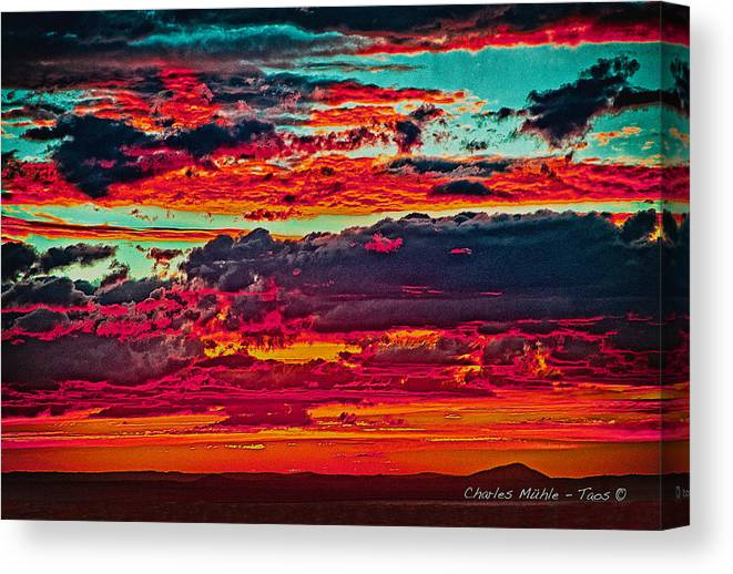 Taos Canvas Print featuring the photograph Taos Sunset Xix by Charles Muhle