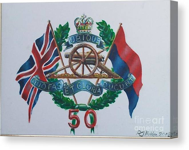 50 Missile Regiment Canvas Print featuring the painting The Glorious 50 by Richard John Holden RA