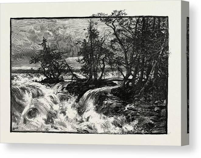Three Canvas Print featuring the drawing The Three Sister Islands, Canada by Canadian School