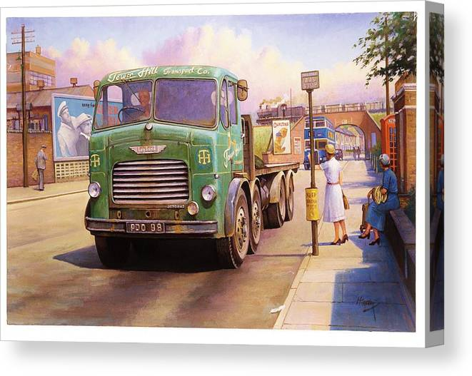 Painting For Sale Canvas Print featuring the painting Tower Hill Transport. by Mike Jeffries