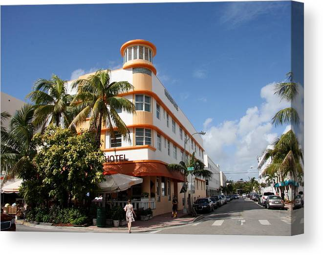 Hotel Canvas Print featuring the photograph Towers Hotel - Miami by Christiane Schulze Art And Photography