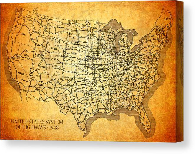 Vintage United States Highway System Map On Worn Canvas Canvas Print